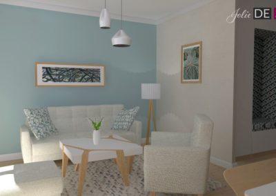 Projekt mieszkania w Żorach strefa dzienna