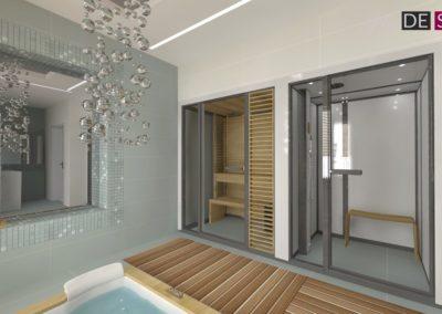Łazienka strefa sauny i prysznica